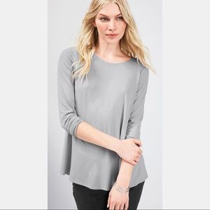 Eileen Fisher Jewel Neck Long Sleeve Top Gray,PL